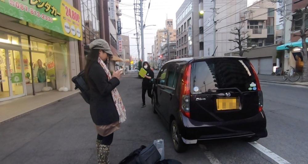ガッツレンタカー高松片原町店に車を返却