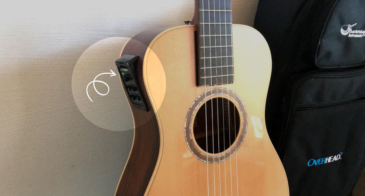 トラベルギター「Jounery Instruments OC520」にピックアップ・プリアンプを装着