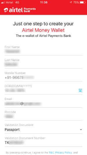 Airtelアプリの設定画面