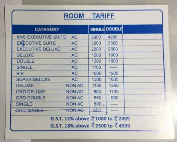 hotel Nirmala部屋の値段表